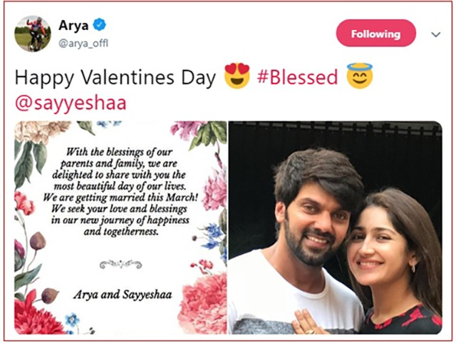 arya sayyesha 14219m3 1 - Arya & Sayesha Saigal announce their marriage!